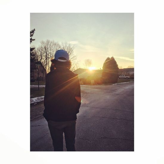 Rear View Real People Sky One Person Full Length Silhouette Outdoors Sunlight Hooded Shirt Standing Lifestyles Men Day Warm Clothing Clear Sky People
