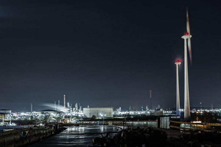 Wind mills Architecture Business Finance And Industry City Hamburg Harbour Hohe-Schaar Hafen Illuminated Kohlekraftwerk Moorburg Nature Night Night Photography No People Outdoors Sky Süderelbe Water Wind Mills
