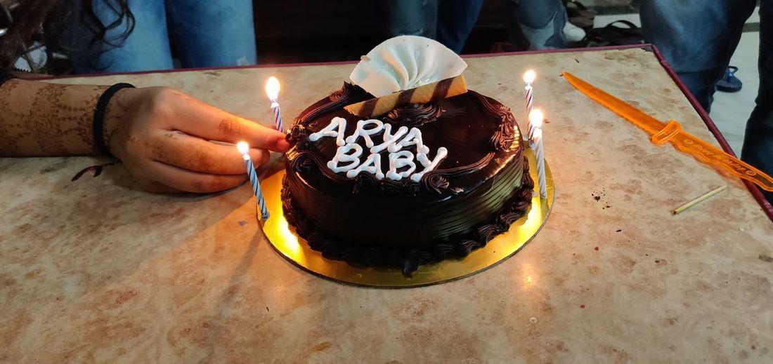 Lighting Candle Birthday Cake Dessert Birthday Celebration Life Events Cake Burning Party - Social Event Diya - Oil Lamp Table