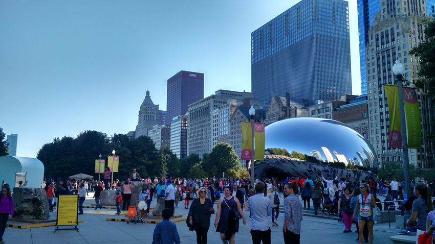 Large Group Of People Skyscraper City Modern Urban Skyline Outdoors Sky People Crowd Architecture Cityscape Illuminated Popular Music Concert Day Adult Millenium Park City Park Chicago Architecture