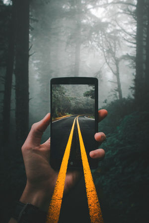 Phone Road New Getting Inspired Getty Getting Creative Road Yellow Lines Forest Holding Phone Trees Foggy Moody Wanderlust New Pretty Evening Pacific Northwest  Oregon EyeEm Nature Lover EyeEm Selects Human Hand One Person Human Body Part Adult People Adults Only Indoors  Close-up