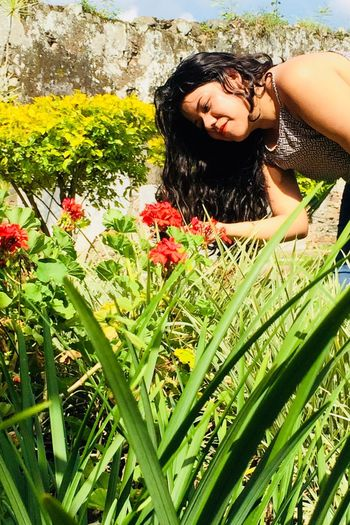 Beautiful woman and nature One Person Plant Real People Green Color Day The Still Life Photographer - 2018 EyeEm Awards Nature Hairstyle Smiling Grass