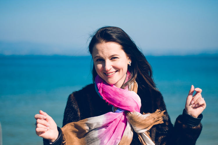 Top Photography Beautiful Woman Emotion Front View Hairstyle Happiness Leisure Activity Lifestyles Looking At Camera Marco Vittorio Marco Vittorio Fotografo Marco Vittorio Photography One Person Outdoors Portrait Real People Scarf Sea Smiling Teeth Top Photographers Top Photos Water Women Young Women