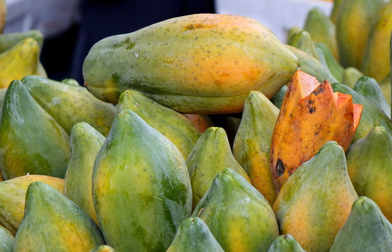 A market in Taiwan sells fresh papayas Agriculture Produce Market Tropical Fruits Abundance Food Food And Drink For Sale Freshness Fruit Green Color Healthy Eating Market Outdoors Papaya Retail
