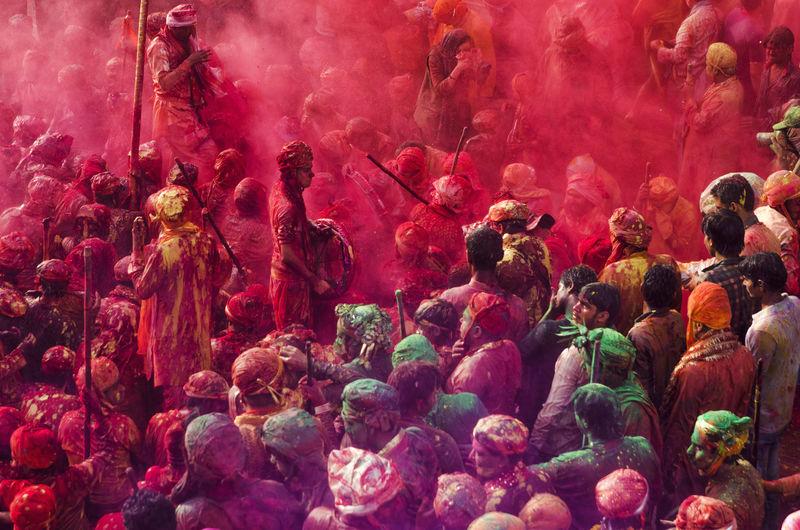 High Angle View Of People Celebrating Holi