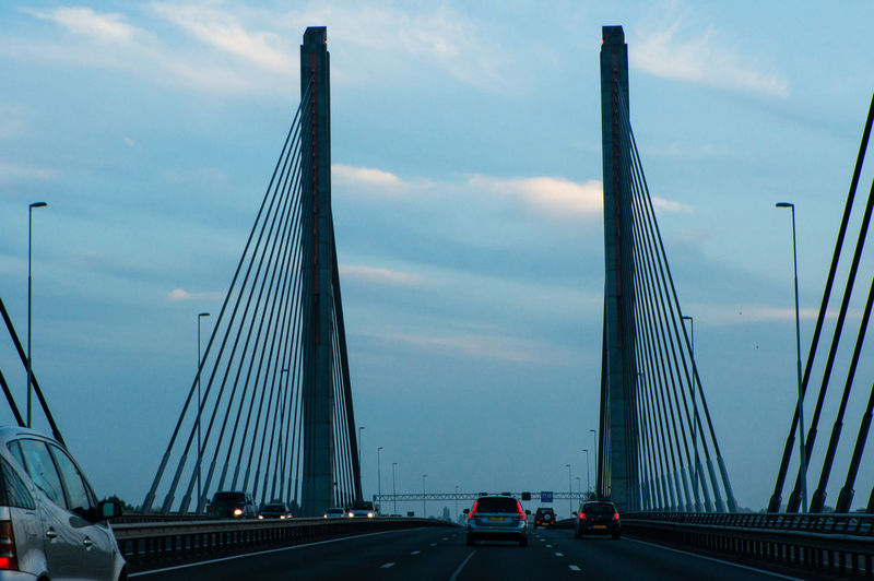 Architecture Bridge - Man Made Structure Building Exterior Built Structure Car City Cloud - Sky Connection Day Land Vehicle Mode Of Transport Modern Night Outdoors Road Road Sky Suspension Bridge Transportation Backgrounds