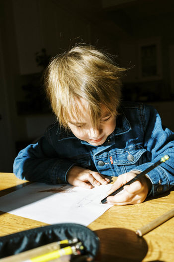 Portrait of boy holding table at home