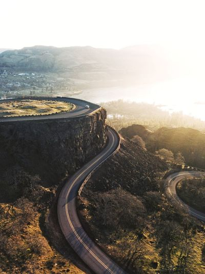 Rowena (find me on IG @noeldxng) Sunrise Sunset Rowena Crest Adventure Drone  Aerial View United States Oregon Columbia River Gorge Winding Road Road Mountain Sunset Curve Mountain Road Car Sky Landscape Highway Elevated Road Road Intersection Country Road Empty Road