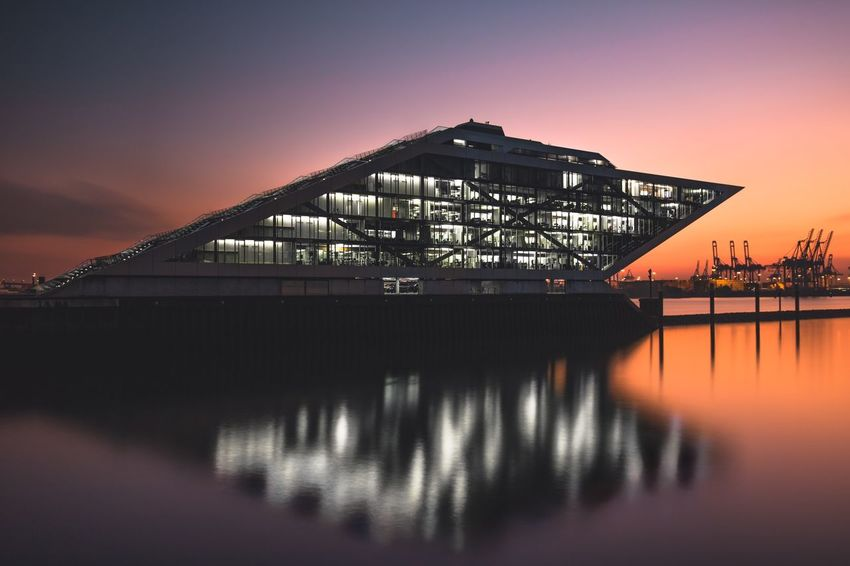 Dockland during sunset Architecture Built Structure Building Exterior Sky Illuminated No People Sunset Bridge - Man Made Structure Water Outdoors Travel Destinations Night Industry Nature City Sunset_collection