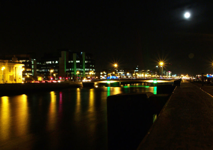 Liffe River, Dublin, Ireland Architecture Building Exterior Built Structure City Cityscape Dublin Illuminated Liffe River Nautical Vessel Night Night Photography No People Outdoors Reflection River Sky Transportation Water
