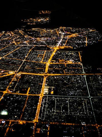 Aerial view of illuminated night
