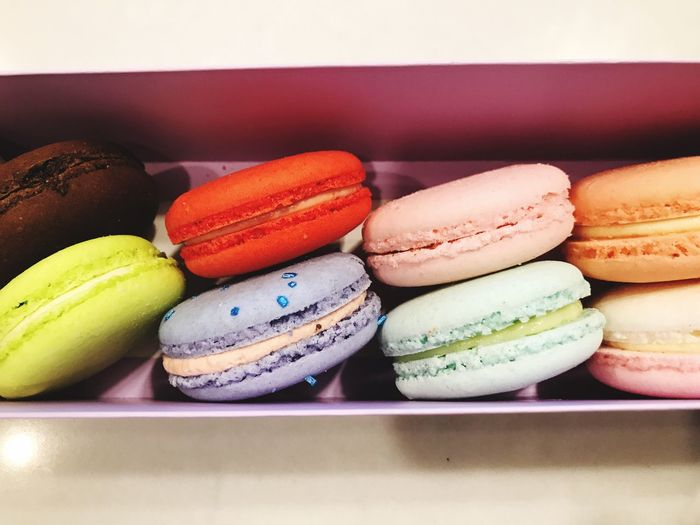 EyeEm Selects Food And Drink Food Macaroon Variation Multi Colored Still Life Indoors  Freshness Indulgence In A Row Choice No People Sweet Food Temptation Table Ready-to-eat Unhealthy Eating Dessert Close-up Day