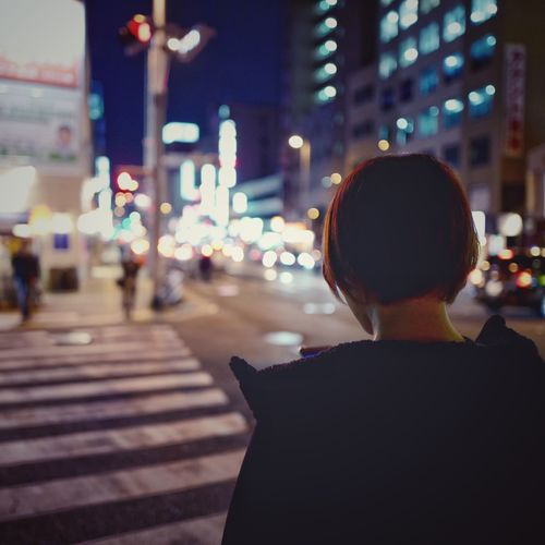 On The Street Corner kokutai doro street Fukuoka-shi : Candid Photography Selective Focus Focus On Foreground Real People One Person One Woman Only Streetphoto_color Street Light Personal Perspective Night Photography Night Life Q typ116 28mm F/1.7 One Shot Wonder 20 February 2017
