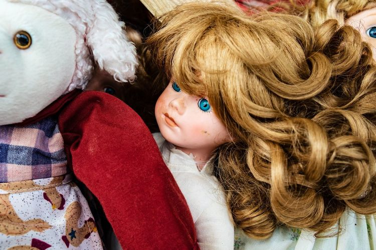 Close-up of doll and toy