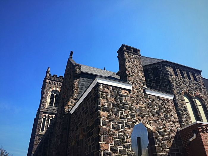 Church Exterior Built Structure Low Angle View Sky Architecture Building Exterior Blue Building Clear Sky Place Of Worship Religion Spirituality Old Tower