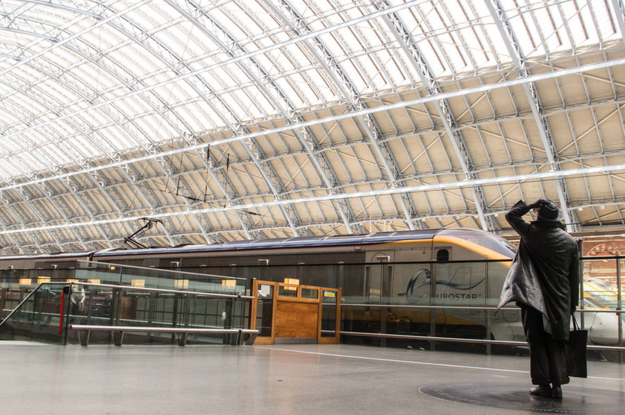 EyeEm LOST IN London St Pancras Station St. Pancras Statue Architecture Day Full Length Indoors  One Person Public Transportation Standing Transportation