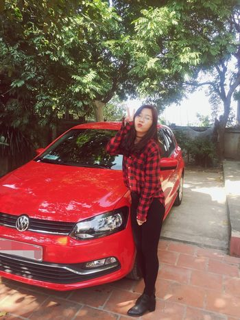 Tetholiday Car Red One Person Tree Vietnam Day Green Color Red Standing Outdoors Hanoi Home Only Women Me:) Happiness EyeEm