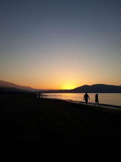 Sunset Beach 2017 Crete Kreta Holiday Wonderful Evening Day Ending Traveling Impression