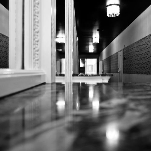 BeW Grand Hotel Do Porto Absence Architectural Column Architecture Black And White Building Built Structure Ceiling Electric Light Empty Flooring Illuminated Indoors  Lighting Equipment Modern No People Reflection Selective Focus Surface Level Table Wall - Building Feature