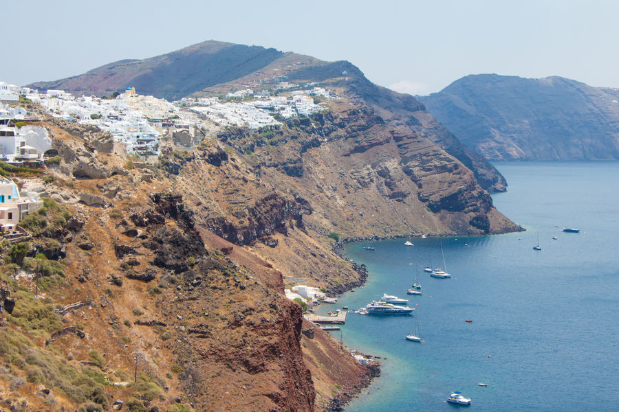 Santorini Beauty In Nature Day High Angle View Mountain Nature No People Outdoors Physical Geography Santorini Scenics Sea Sky Tranquil Scene Tranquility Water