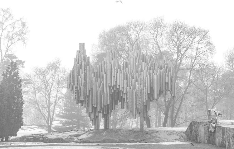An image of the Sibelius Monument on a misty April morning. Finland Helsinki Sibelius Monument Architecture Built Structure Landscape Misty Morning Outdoors Public Art Winter