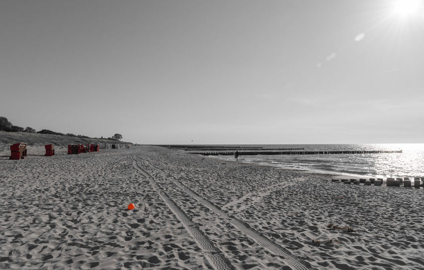 Ball Beach Beauty In Nature Black And White Blackandwhite Clear Sky Day Horizon Over Water Keycolor Leasure Activity Nature No People Ostsee Outdoors Sand Sea Sky Vacation Water