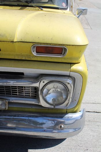 Auto Car Cars Chevy. Close-up Headlight Mode Of Transport Old Buildings Pickup Truck Vehicle Vintage Car