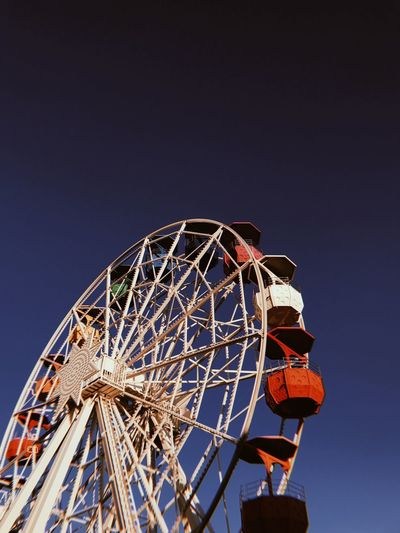 Tibidabo Park Amusement Park Ride Amusement Park Sky Ferris Wheel Low Angle View Arts Culture And Entertainment Clear Sky Enjoyment Fun Blue Outdoors