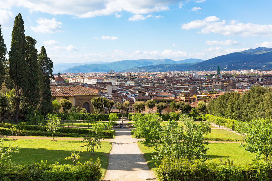 Boboli Gardens with view of the city Florence City Cityscape Classic Footpath Houses Path Skyline TOWNSCAPE Touristic View Boboli Garden Famous Place Florence Garden Horizon House Italy Landscape No People Outdoors Park Tourist Destination Town Tree Viewpoint