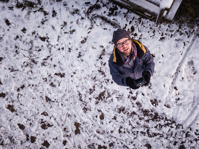 High angle view of person in snow