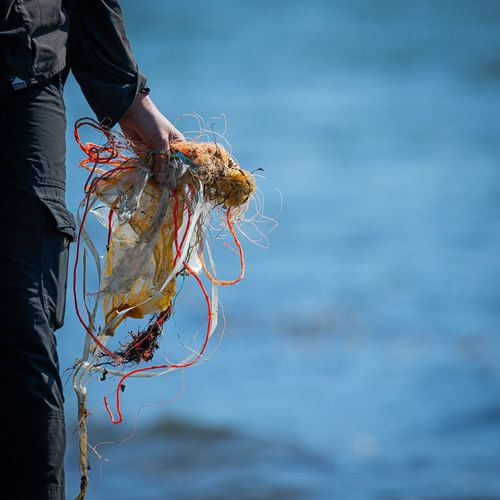 Midsection of person holding fishing net at sea shore