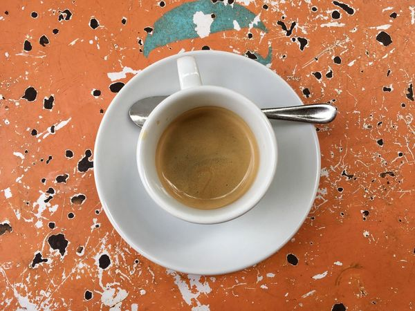 Espresso Close-up Coffee Coffee - Drink Coffee Cup Crockery Cup Directly Above Drink Food Food And Drink Freshness High Angle View Indoors  Kitchen Utensil Mug No People Non-alcoholic Beverage Refreshment Saucer Still Life Table