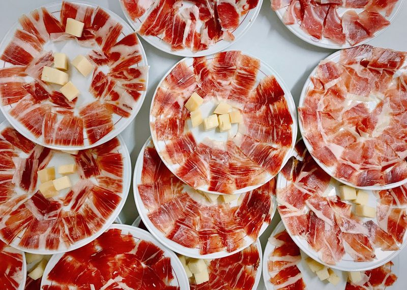 ShotOnIphone Plates On A Table Plates Cheese Jamon Serrano Serrano Ham Full Frame Food And Drink Food Backgrounds Freshness Wellbeing Healthy Eating No People Still Life Indoors  Directly Above High Angle View SLICE Close-up Abundance