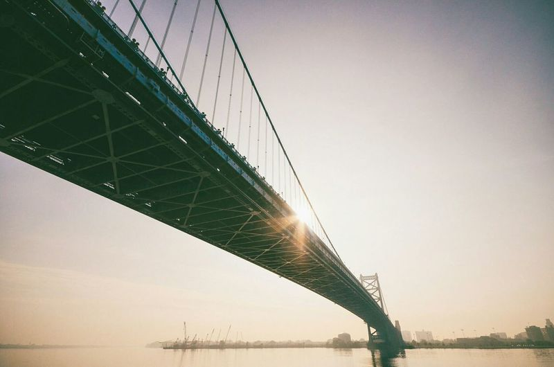 Low Angle View Of Benjamin Franklin Bridge Over Delaware River During Sunset