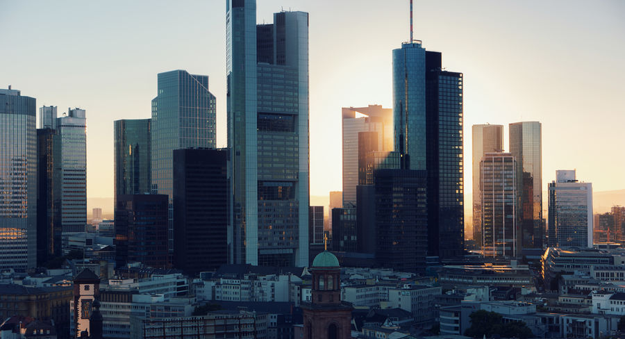 Frankfurt Skyscaper Skyline at Sunset Architecture Banking And Finance Building Exterior Architecture Bussiness City City Life Cityscape Clear Sky Downtown District Frankfurt Frankfurt Am Main Germany Golden Hour Modern Architecture Outdoors Skyline Skyscraper Skyscrapers Sunlight Sunlight And Shadow Sunset Travel Destinations Urban Skyline