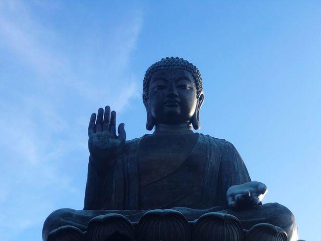 Statue Sculpture Human Representation Religion Male Likeness Spirituality Low Angle View Idol Sky No People Day Outdoors Tian Tan Buddha (Giant Buddha) 天壇大佛 Big Buddha HongKong Ngongpingvillage