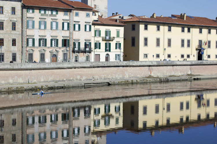 Building Exterior Built Structure Architecture Water Reflection Building Residential District City Waterfront Day Nature Outdoors Window Pisa Pisa, Italy Arno River Calm River Urban Skyline Historic Exterior Façade
