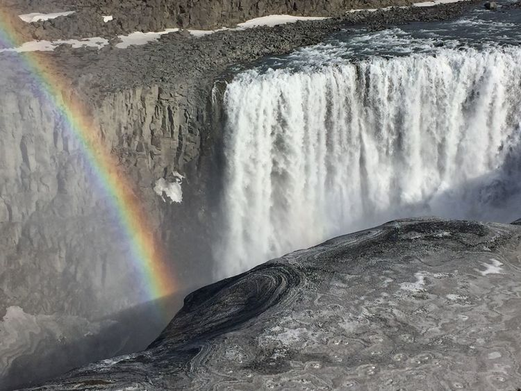 Godafoss Iceland Rainbow Beauty In Nature Scenics - Nature Water Waterfall Multi Colored No People Power In Nature Cold Temperature Power Long Exposure Non-urban Scene Nature Environment