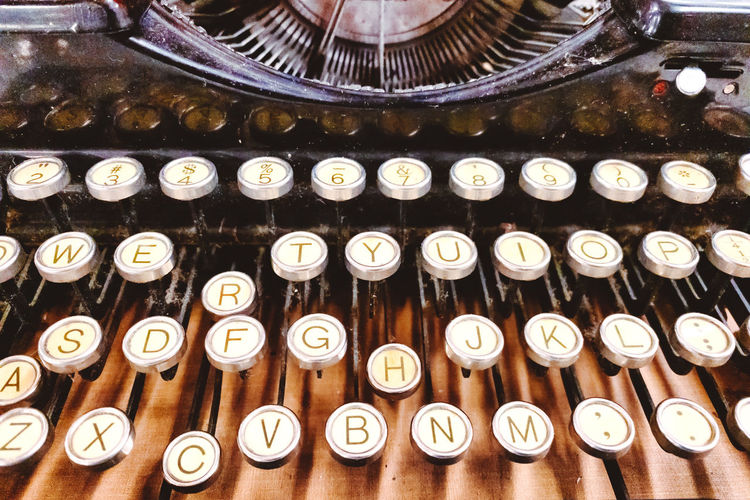 Old vintage typewriter Vintage Rustic Close-up Type Typewriter Retro Styled Indoors  No People Technology Antique Alphabet Letter Large Group Of Objects Text Still Life Old The Past Metal History Full Frame Communication Shape