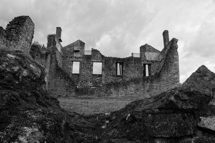 Ww2 Ruin Blackandwhite Built Structure Architecture Building Exterior Sky Building Low Angle View Cloud - Sky The Past Abandoned Old History