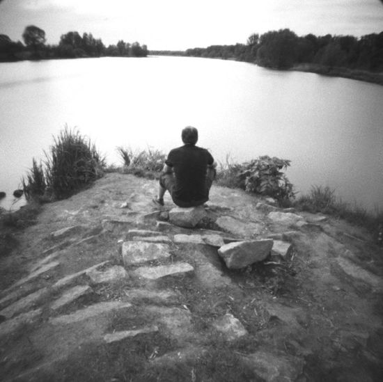 pinhole ami 0.22 #pinhole #pinholes #analog #analogphotograpy Pinhole Photography 6x6 Rear View One Person Water Lake Leisure Activity Men Full Length