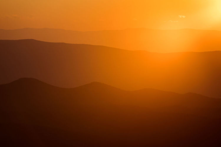 Inspiration Landscape Lens Flare Mountain Mountain Range Mountains Orange Orange Color Shenandoah National Park Silouette Sunrise Sunset Tranquility Virginia