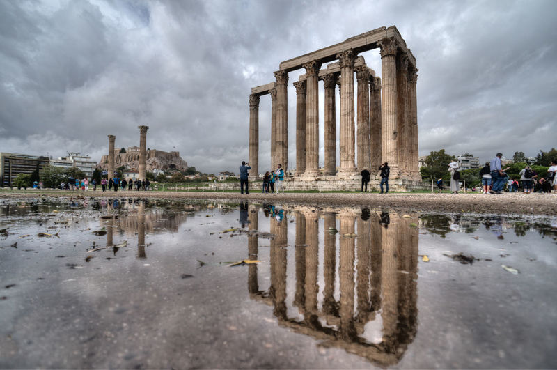 Acropolis Architectural Column Architecture Athens Athens, Greece Capital Cities  City City Life Cloud Cloud - Sky Cloudy Day Famous Place Greece GREECE ♥♥ History Nature Outdoors Overcast Sky Tourism Travel Travel Destinations Water Weather