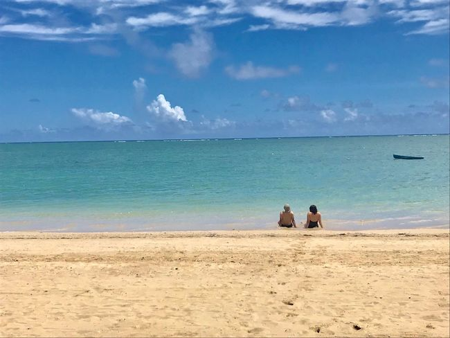 Land Sea Beach Water Sky Sand Summer In The City Beauty In Nature Vacations Trip Two People Horizon Outdoors Horizon Over Water Scenics - Nature Holiday