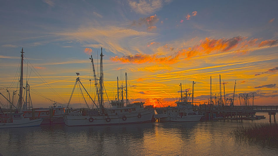 Environment Gas HDR Industry Landscape Nature No People Outdoors Sea Shrimp Boat Sky Sunset Water