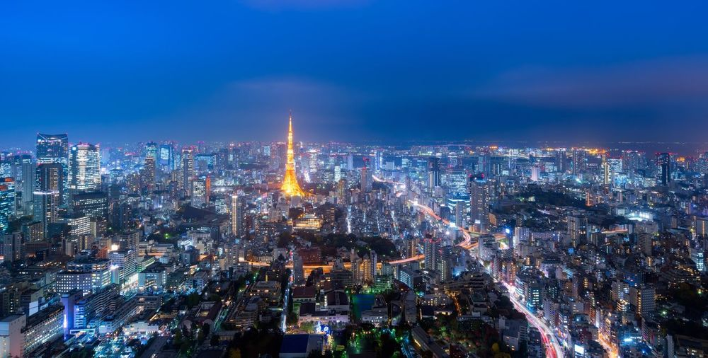 Panorama view over Tokyo tower and Tokyo city at night,Tokyo,Japan Cityscape Skyscraper Architecture Building Exterior Travel Destinations Downtown District Tokyo Japan Japanese  Panorama Landmark Landscape Aerial View Views Night Urban Skyline Outdoors Dusk Roppongi Shibuya Harajuku Travel Tourism City Office Building