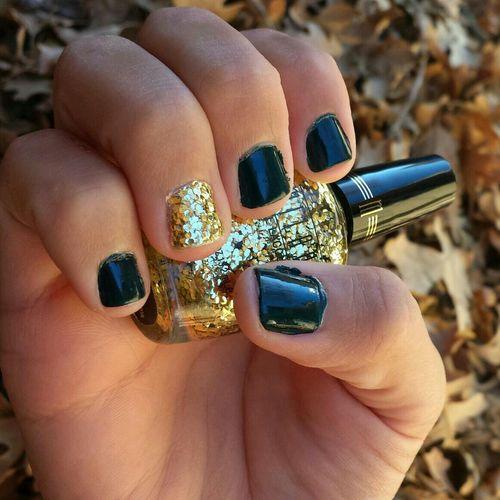 Forest Green & Gold Nails Nail Polish Nail Lacquer Nail Art Manicure