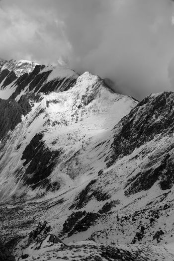 View from Hafelekar Alpine Austria Cloud Dramatic Sky Innsbruck Alps Beauty In Nature Black And White Blackandwhite Cloud - Sky Clouds Cold Temperature Hafelekar Landscape Moody Mountain Mountain Range Mountains Nature Outdoors Scenics Sky Snow Snowcapped Mountain Winter