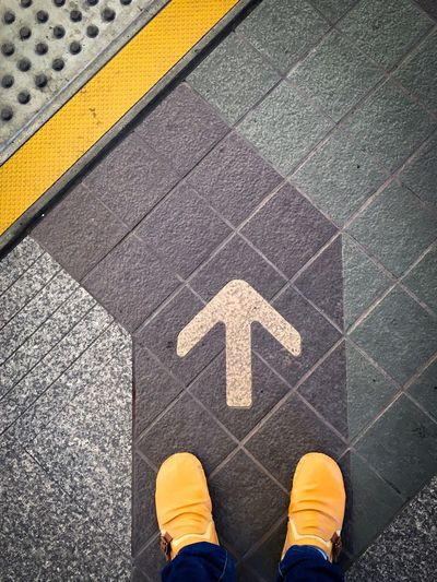 The way to step forward Go Straight Forword Walk Path Way Arrow High Angle View Day Shoe Guidance Standing Yellow One Person Street