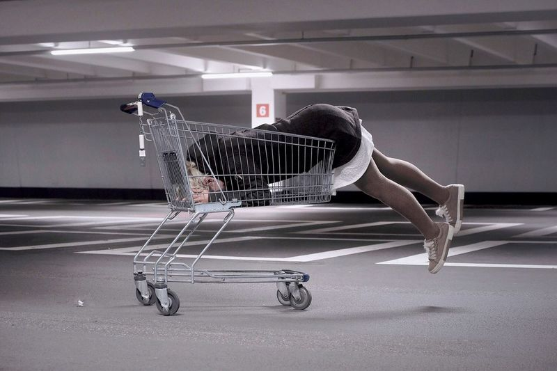 - RELAX BEFORE SHOPPING - Check This Out ThatsMe People Photography EyeEm Best Shots Relaxing Shopping Time Shopping Cart Sleeping Indoors  Transportation People Shopping Cart Side View Sport Wall - Building Feature Adult Human Body Part White Color Arts Culture And Entertainment
